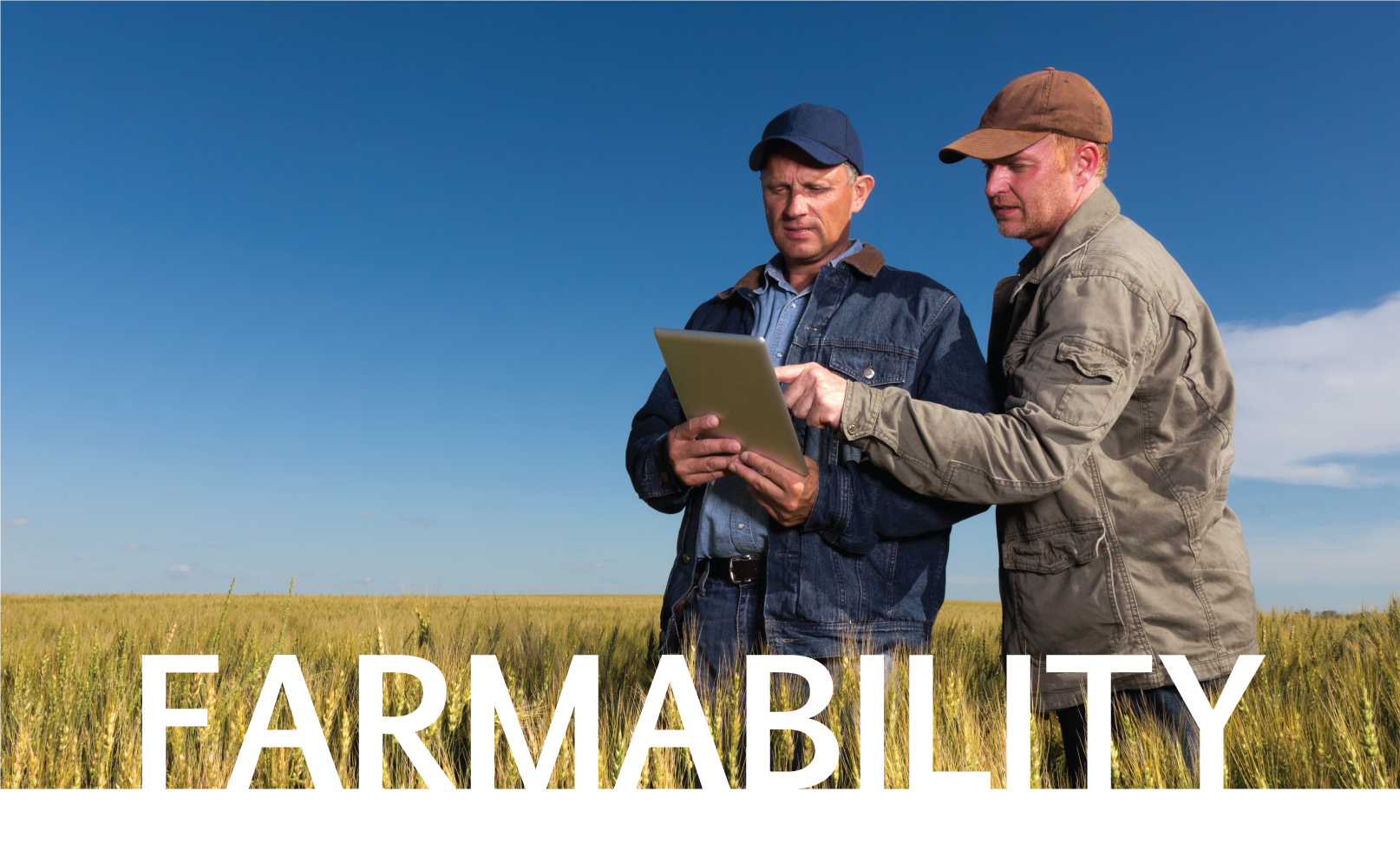 Two men on farm looking at a tablet with word farmability over image