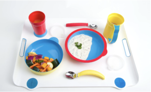 Eat Well tableware with accessible plate bowl cups and silverware