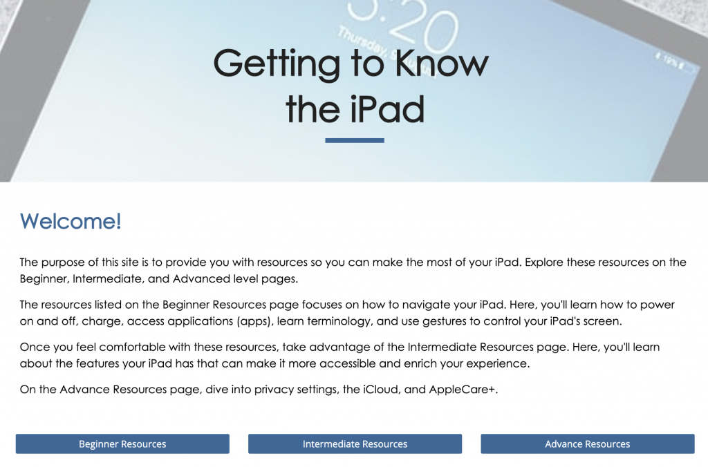 Getting to know the iPad site screenshot